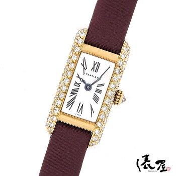 【アンティーク】カルティエタンク手巻きダイヤ極美品【K18YG】腕時計レディース中古750ゴールド