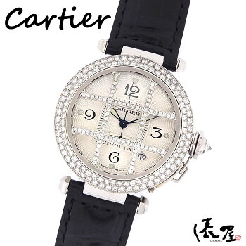 【極美品】カルティエ パシャ 38mm ダイヤグリッド 【ベルト交換可】 国際保証書 腕時計 シースルーバック レディース メンズ