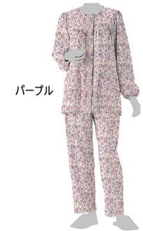 護理婦女婦女長袖睡衣設置股份由郡 [紫色/奶油] 衣服護理護理的睡衣睡衣 (護理產品護理 / / 睡衣睡衣 / 睡衣 / 婦女)