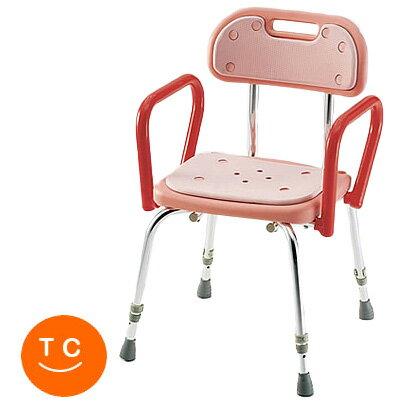 介護用 風呂椅子 シャワーチェア 背付・背付シャワーイスSC-23 ピンク ハイグリップ付シャワーチ...
