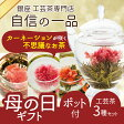【母の日ギフト予約受付中】カーネーションが咲くクロイソス工芸茶3種+ポットセット(ギフトボックス入)無農薬オーガニック茶葉100%使用