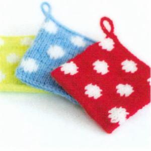 エコたわしを作ろう♪カフェキッチンで編む使いやすいスクエアタワシ 水玉模様【ニットキット】