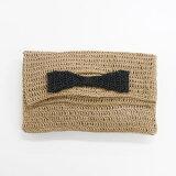 笹和紙で編むリボンが可愛いクラッチバッグ手編みキットダルマ横田毛糸【ネコポス便利用不可】