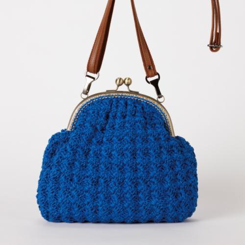 ●編み針セット●シャポットで編む石垣模様のがま口バッグ手編みキットオリムパス編み図編みものキット持ち手別売り