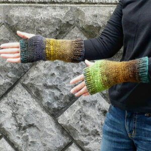 編み物初心者さんもOK!1玉で完成する野呂英作の毛糸・くれよんで編む段染めの簡単指なし手袋【...