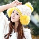 ニット帽 レディース ボンボン 防寒 帽子 暖かい あったか 女の子 大人 女性用 秋冬 かわいい ゆったり コーデ 着こなし おしゃれ お洒落 黒 白 黄色 赤 ピンク 選べる6色 大きいサイズ ふんわり ボリューム 小顔効果 プレゼントも◎