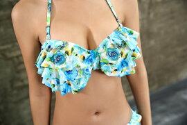 送料無料あす楽水着レディースバンドゥビキニ水着花柄セクシー2点セット大きいサイズフリルスカート風ショーツ