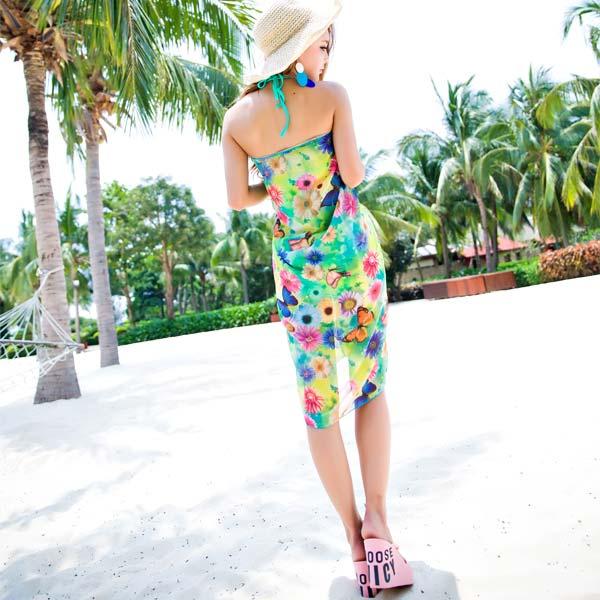 レディース体型カバー水着ビキニワイヤーホルターネック2wayパレオ大判ワンピーススカート花柄蝶リゾート日焼け防止紫外線対策UV3点セット女性用セクシーかわいいオシャレママ大人XL