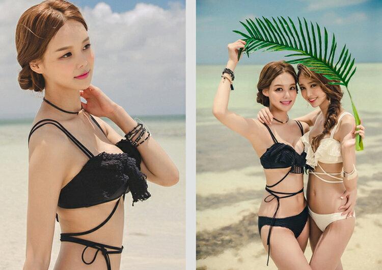 送料無料あす楽水着レディースビキニ2点セットブラパンツ韓国ファッションSHEBEACH正規品シービーチセクシーシンプルおしゃれかぎ編みフレアかわいいパッド付きバスト盛れる大人キュートガーリー女の子ホワイトブラック黒白個性的