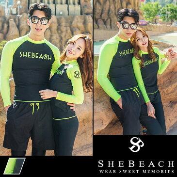 水着 ペア レディース メンズ ラッシュガード ショートパンツ サーフパンツ 4点セット 韓国 ファッション SHEBEACH シービーチ 正規品 S M L XL 男性 女性 安全 海 ジム パンツ トップス 紫外線対策 かわいい かっこいい ポケット付き ロゴ入り