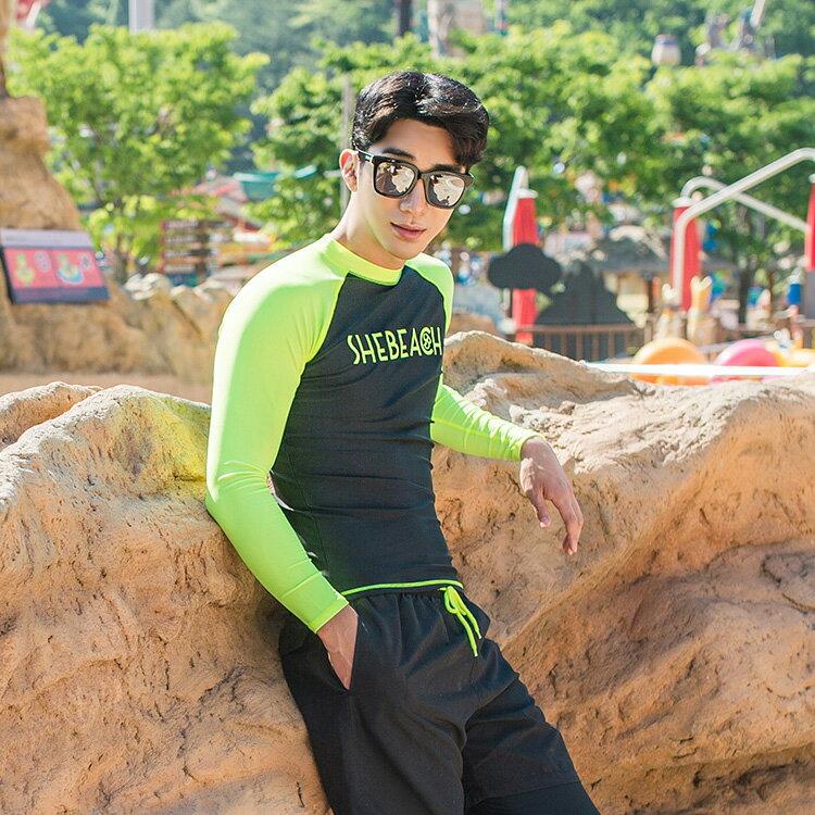 2017新作水着メンズラッシュガードサーフパンツ2点セット韓国ブランドSHEBEACHSHORTSMELANYZIPUPRASHGARDシービーチ正規品MLXL男性安全海ジムパンツトップスUPF50+紫外線対策かっこいいお洒落大きいサイズポケット付きロゴ入り送料無料