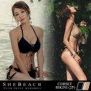 水着 レディース ビキニ 黒 ゴールド 2点 セット 韓国ブランド SHEBEACH シービーチ 海...