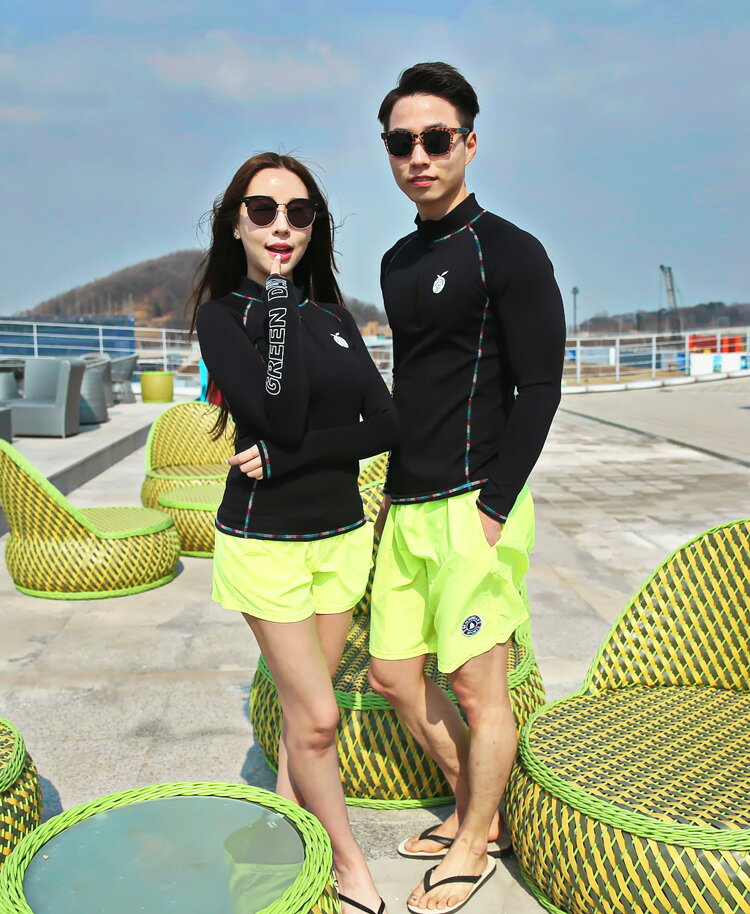 送料無料あす楽2016新作UPF50+レディースラッシュガード長袖トップスショートパンツ上下2点セット大きいサイズ韓国ブランドYULIMGLOBAL正規品GREENDAYWOMEN'SMBLACKWARMRASHGUARD女性ジムウェアフィットネス水着上着プール体型カバー
