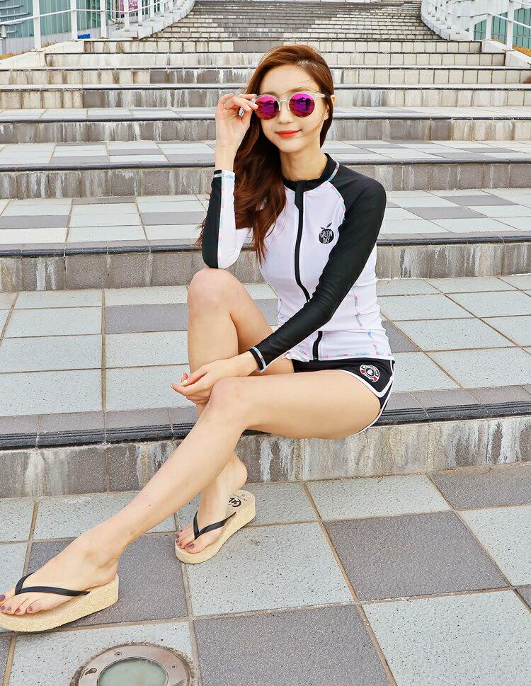 送料無料あす楽2016新作ラッシュガードレディース長袖セットラッシュパーカーUPF50+トップスショートパンツ上下2点セット大きいサイズ韓国ブランドYULIMGLOBAL正規品GREENDAY女性ジムウェアフィットネス水着上着プール体型カバーペア
