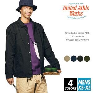 コーチジャケット メンズUnited Athle Works(ユナイテッドアスレワークス) 7448-01 s-xl ジャケット コート アウター ヴィンテージ ストリート オシャレ 流行 シンプル ベージュ ネイビー ブラック 上着 フォーマル ワークウェア ルームウエア 部屋着