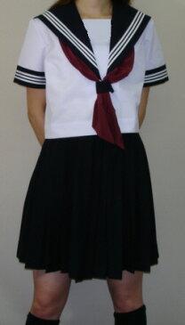SH48衿・袖カフス紺色・白3本線半袖セーラー服