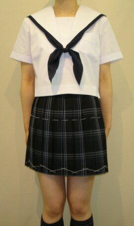 SH04紺縁取り白衿半袖セーラー服