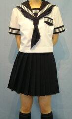 SH64衿・袖カフス・P・胸当紺色・白3本線夏半袖セーラー服: