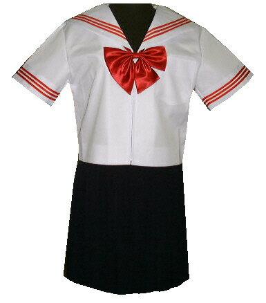 SH30衿・カフス白色、赤3本線半袖セーラー服