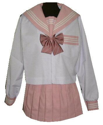 SN09衿・カフス・胸当・Pピンク白3本線夏長袖セーラー服