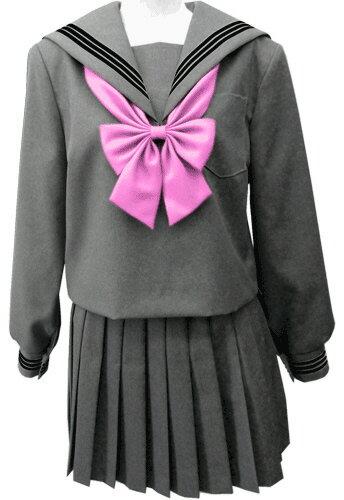 WGR22-5おしゃれなグレー冬セーラー服衿・カフスクロ3本線 Bigサイズ