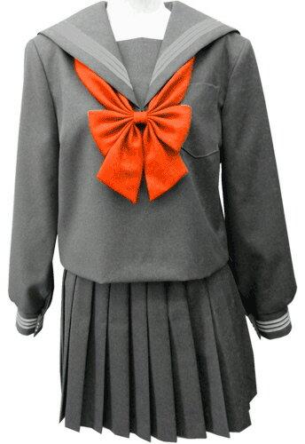 WGR22-2おしゃれなグレー冬セーラー服衿・カフスグレー3本線