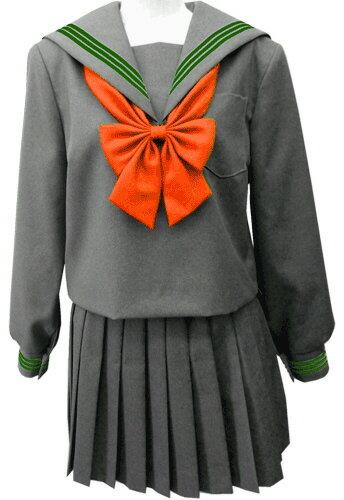 WGR22-6おしゃれなグレー冬セーラー服衿・カフス グリーン3本線