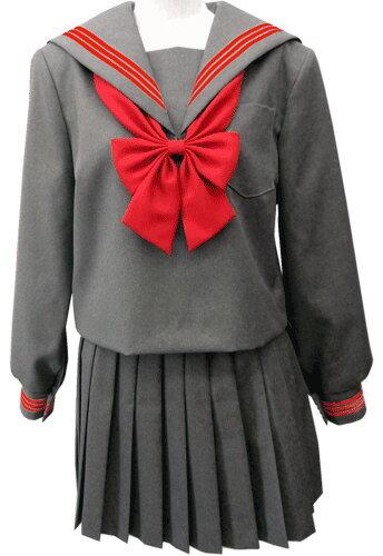 WGR22-7おしゃれなグレー冬セーラー服衿・カフスアカ3本線