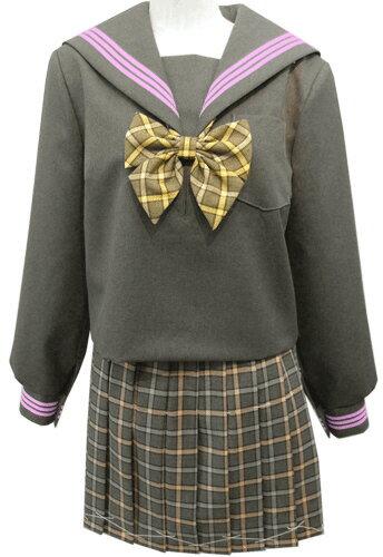WGR22-1おしゃれなグレー冬セーラー服衿・カフスピンク3本線Bigサイズ