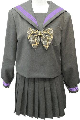 WGR22-4おしゃれなグレー冬セーラー服衿・カフスパープル3本線