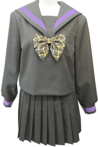 WGR22-4おしゃれなグレー冬セーラー服衿・カフスパープル3本線 ビッグサイズ