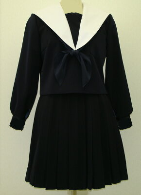 W24big紺色セーラー服 ビッグサイズ白衿・深衿タイプ