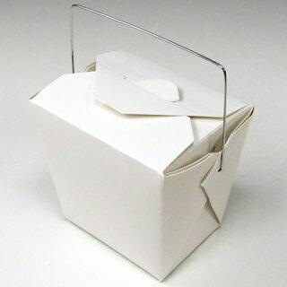 アメリカ製 元祖FOLD-PAK社 【フードペイル#32 ハンドル付き 白無地 500個入り】 907ml フードボックス 耐水耐油 汁物OK サイドメニュー フードペール ドギーバッグ doggy bag doggie bag
