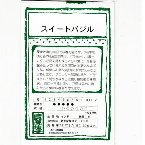 在来種/固定種/ハーブのタネ「スイートバジル1ml約400粒」畑懐〔はふう〕の種【メール便可】