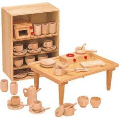 河合楽器製作所8011抗菌ままごとあそびテーブルセット (くみあわせてあそぶ)木の玩具
