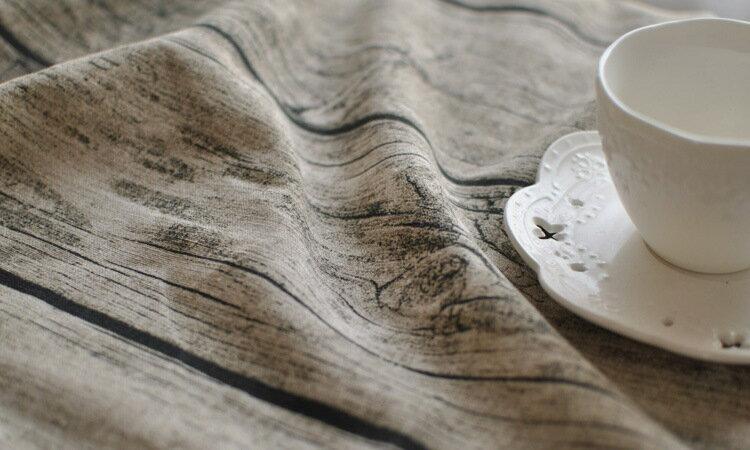 ■テーブルクロス 木目模様 アンティーク 木目調風、食卓カバー 木目 綿麻 布 生地 北欧 田園風 テーブルカバー 耐熱 140x220cm