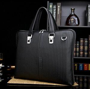 新品天然本革牛革レザーメンズハンドバッグハンド鞄A4サイズメッシュ調型押し通勤ショルダーP27Mar15