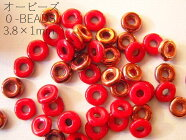 【オービーズ/o-beads】オパークレッドサンセット:直径3.8×1ミリ/チューブ(約8.1g/約200-220ヶ)【メール便OK】  *