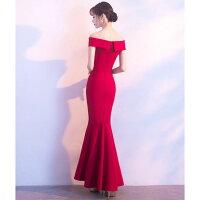 ドレスフィッシュテールロングタイトセクシーオフショルダーマキシ黒ブラック赤レッドお呼ばれキャバドレス結婚式二次会10代20代30代