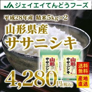28年産 山形県産ササニシキ精米 10kg(5kg×2) 送料無料※一部地域は別途送料