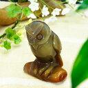かわいいフクロウの彫刻(手彫り)メノウ 瑪瑙 アゲート 置物 サイズ約...