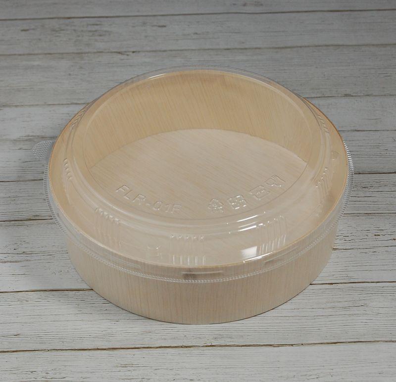 エコウッド 容器 FLR-01B 透明プラふたタイプ 木 お弁当箱直径155×高さ45ミリ 清潔感 使いやすい 白木 オーガニック 弁当 お菓子 チーズケーキ 雑貨 にもおすすめ ファルカタ