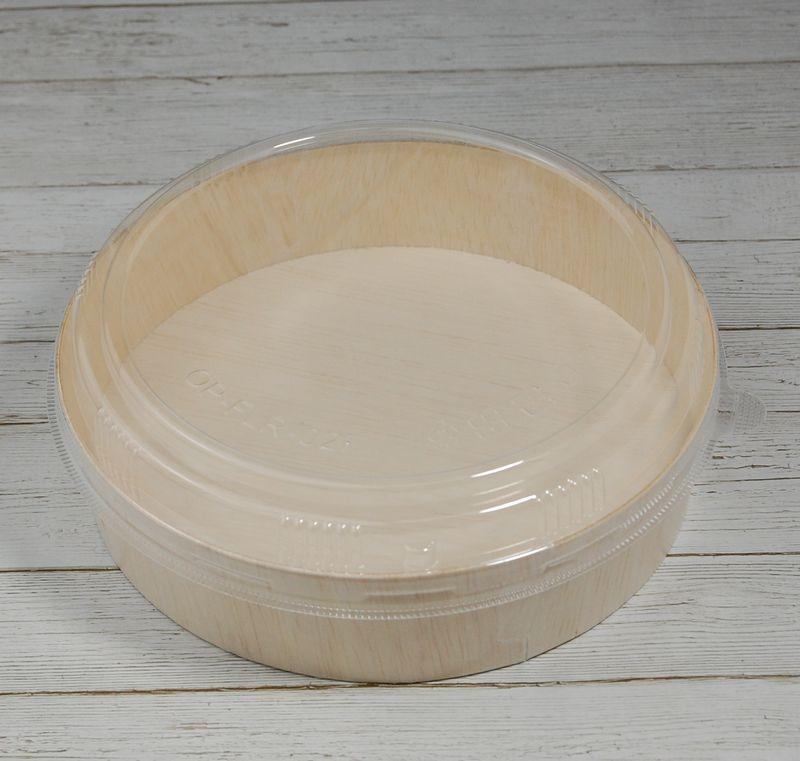 エコウッド 容器 FLR-02B 透明ふたタイプ 木 お弁当箱直径165×高さ40ミリ 清潔感 使いやすい 白木 オーガニック 弁当 お菓子 チーズケーキ 雑貨 にもおすすめ ファルカタ