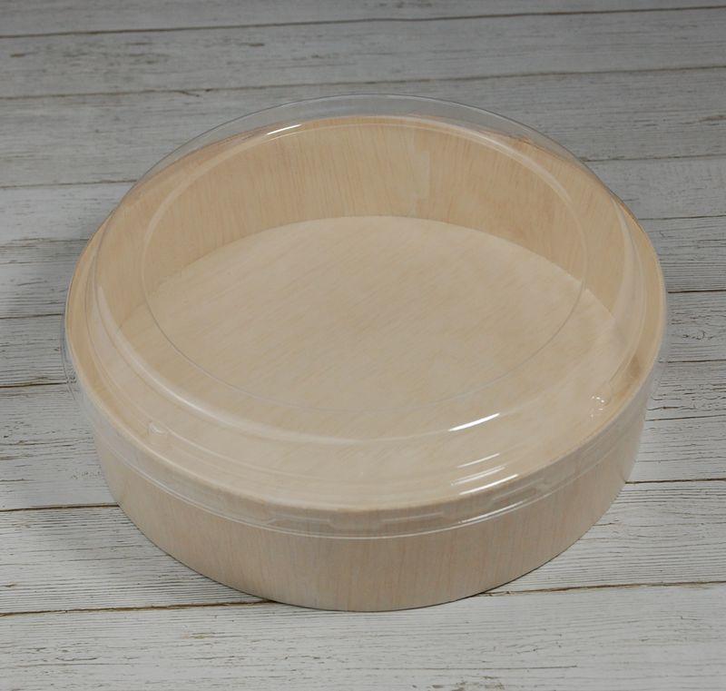 エコウッド 容器 FLR-03B 透明ふたタイプ 木 お弁当箱直径175×高さ45ミリ 清潔感 使いやすい 白木 オーガニック 弁当 お菓子 チーズケーキ 雑貨 にもおすすめ ファルカタ
