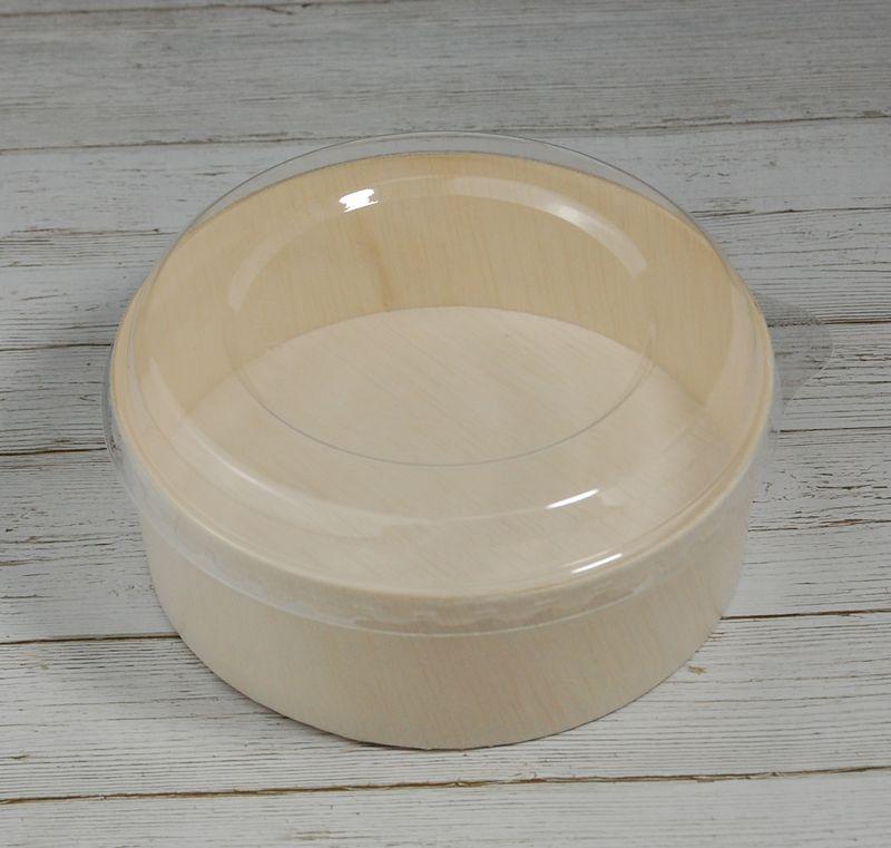 エコウッド 容器 FLR-05B 透明ふたタイプ 木 お弁当箱直径130×高さ45ミリ 清潔感 使いやすい 白木 オーガニック 弁当 お菓子 チーズケーキ 雑貨 にもおすすめ ファルカタ
