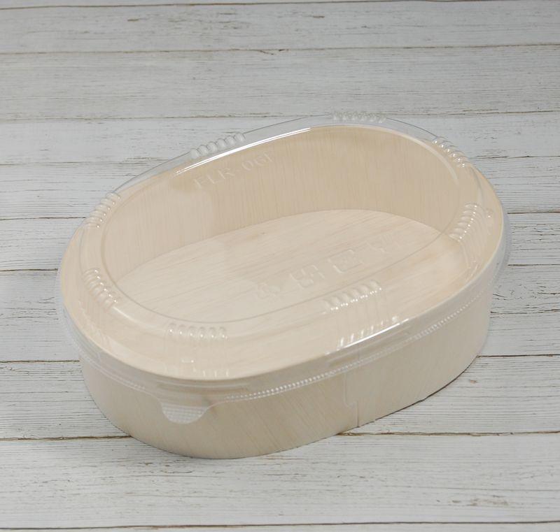 エコウッド 容器 FLR-06B 楕円 透明ふたタイプ 木 お弁当箱170×120×高さ45ミリ 清潔感 使いやすい 白木 オーガニック 弁当 お菓子 チーズケーキ 雑貨 にもおすすめ ファルカタ