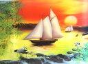中華・立体3Dポスター「帆船と鶴」