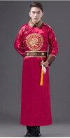 中国清朝服満州王子服古装武侠衣装長袍(チャンパオ)サテン地2酒紅色