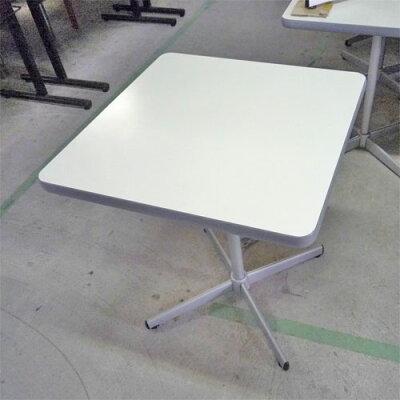 洋風テーブル白メラミン1本脚十字盤
