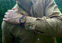 tenseアーバンモデル木製腕時計(iインレイドサンダルウッド)